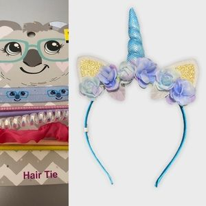 New! Blue Unicorn 🦄 Headband & 5 pk hair ties